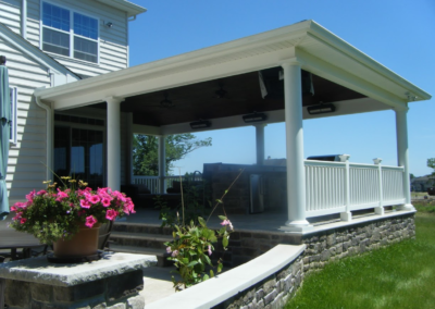 patio with awning