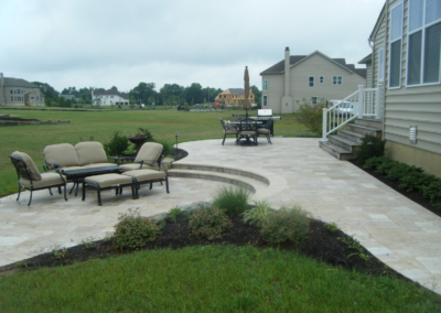 white paver patio